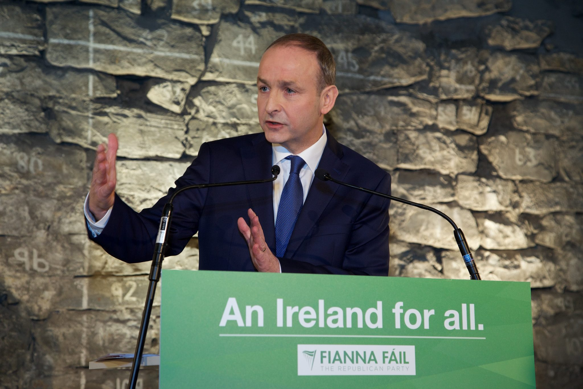 """11 February 2016 Micheal Martin pictured at the launch of the Fianna Fáil General Election Manifesto entitled 'An Ireland for all' today at City Wall Space, Wood Quay Venue, Dublin. Mr Martin said that Fianna Fáil is determined to offer the people an alternative.  """"Fianna Fáil is a party of the centre ground – one which sees economic and social issues as deeply linked.  We believe that an economy can only be strong if it is built on a strong sense of social solidarity and if long-term investment is a priority."""" PIC: LENSMEN"""