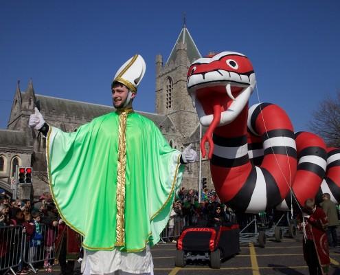 Saint Patrick and last of the Irish Snake at Saint Patrick's Cathedral Dublin at Saint Paddy Day Parade Dublin Ireland,