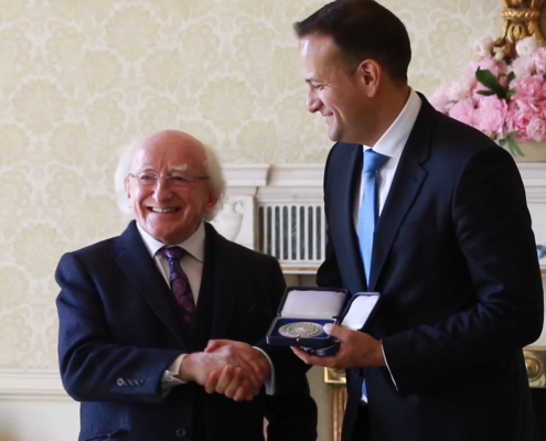 Leo Varadkar receives his seal of office from President Michael D. Higgins at Áras an Uachtaráin​