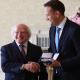 Leo Varadkar receives his seal of office from President Michael D. Higgins at Áras an Uachtaráin