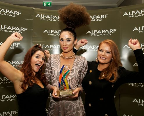 PR Commercial Event Press LONG HAIR UP Second PlaceNathalie Kearney, ALFAPARF MILANO IRELANDJanice Mc Carthy Lisa Madden - Model