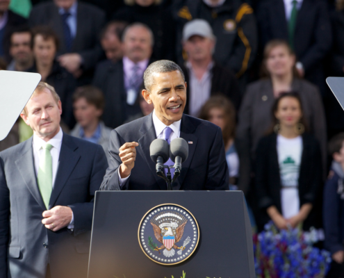Political Photography Barrack Obama addressing Dublin