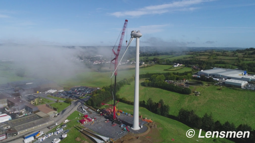 Aerial Photography of wind turbine being built