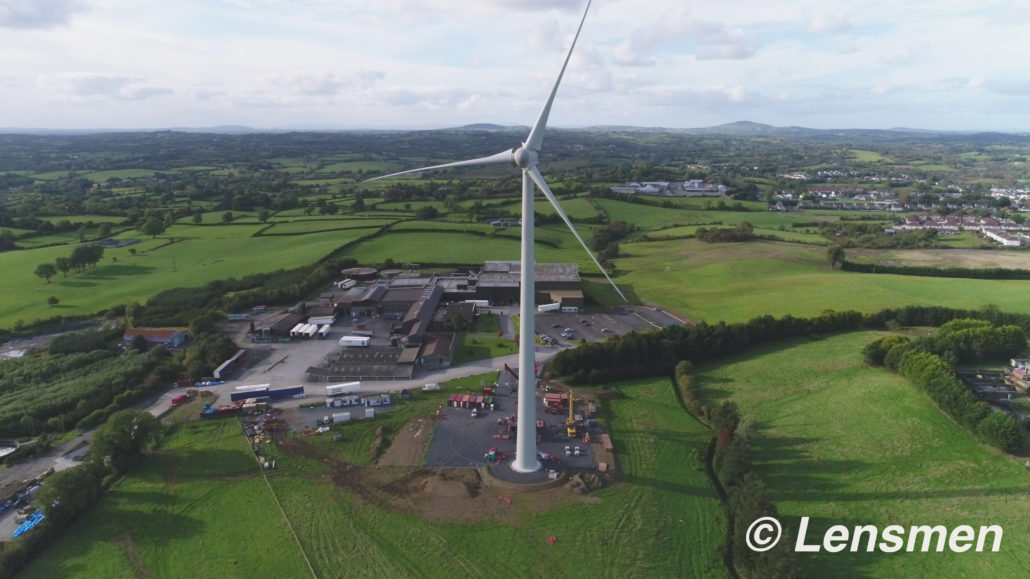 Aerial photo of completed wind turbine