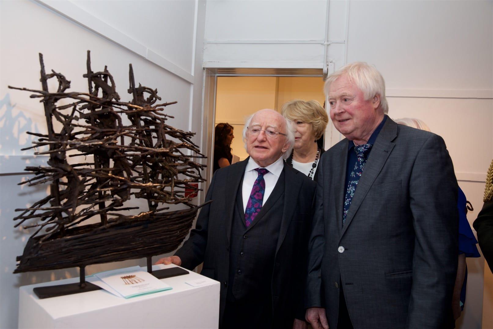 exhibition photography Michael D Higgins and John Behan