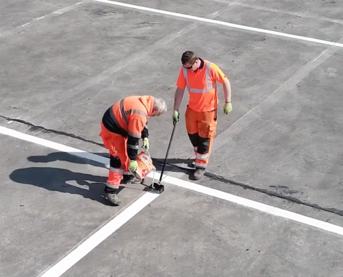 Drone Photography of Car park lining